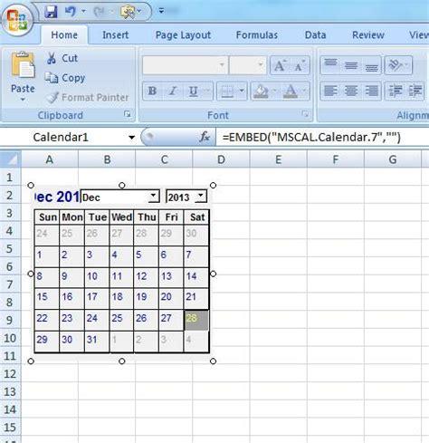 excel insert calendar cell insert calendar in worksheet
