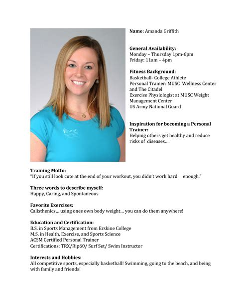 Best Photos Of Personal Trainer Biography Personal Fitness Trainer Bio Personal Trainer Bios Personal Trainer Biography Template