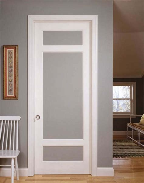 Frosted Glass Panel Interior Door by Hardwood Interior Doors Rochester Michigan