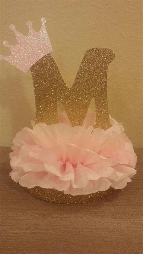 pink and gold baby shower table decorations princess or prince initial tiara glitter centerpiece 1st