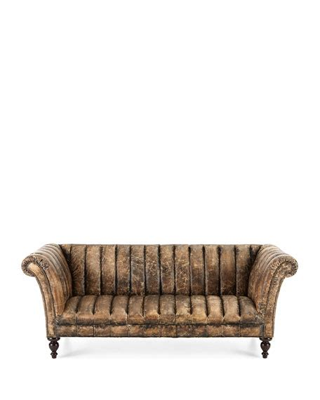old hickory tannery leather sofa old hickory tannery safari channel tufted leather sofa