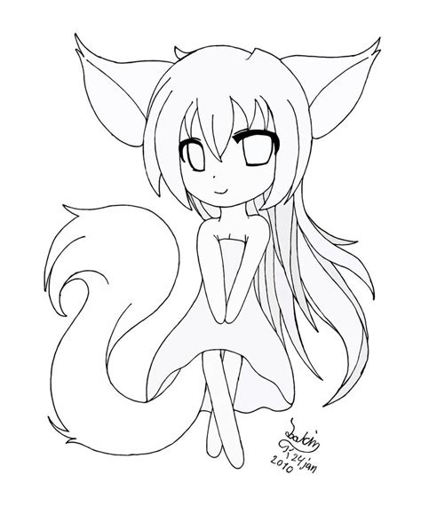 Cute Fox Girl Coloring Pages | chibi fox girl lineart by joakaha on deviantart