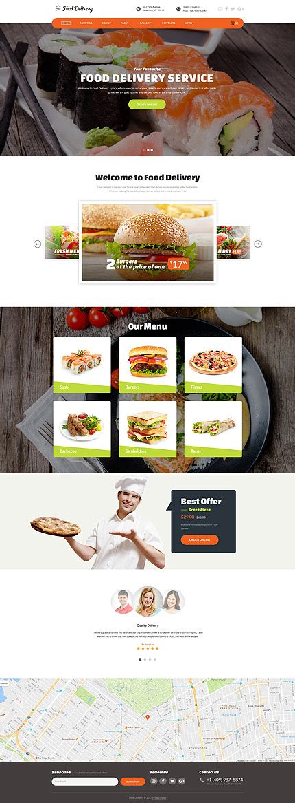 Food Ordering Service Website Template Website Templates Restaurant Website Template With Ordering