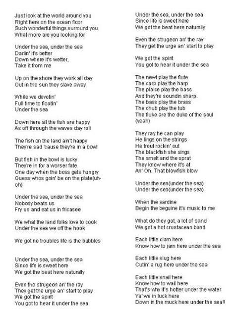 printable lyrics to kiss the girl the little mermaid kidz corner tvsa