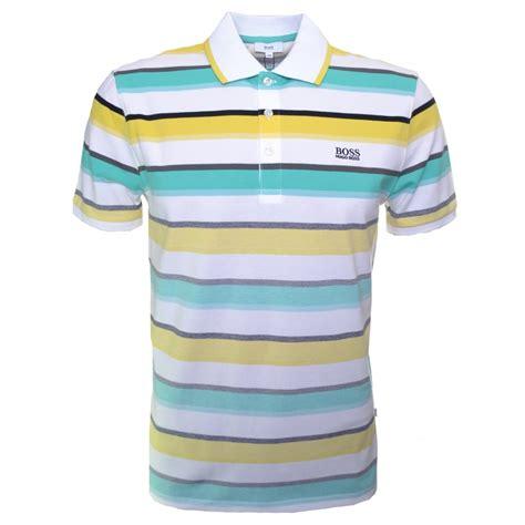 Polo Yellow Stripe Blue hugo blue and green striped polo shirt