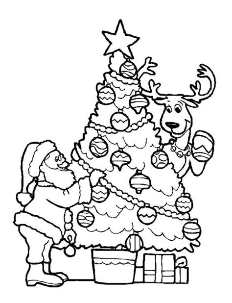 Santa Claus Decorating Christmas Tree With The Reindeer On Decorate A Tree Coloring Page