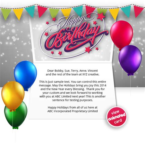 Corporate Birthday Ecards Employees Clients Happy Birthday Cards Birthday Card Email Template