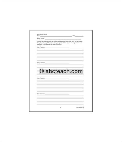 sle book report template sle middle school book report templates 9 free