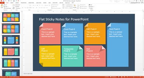 flat design template powerpoint how to add custom sticky