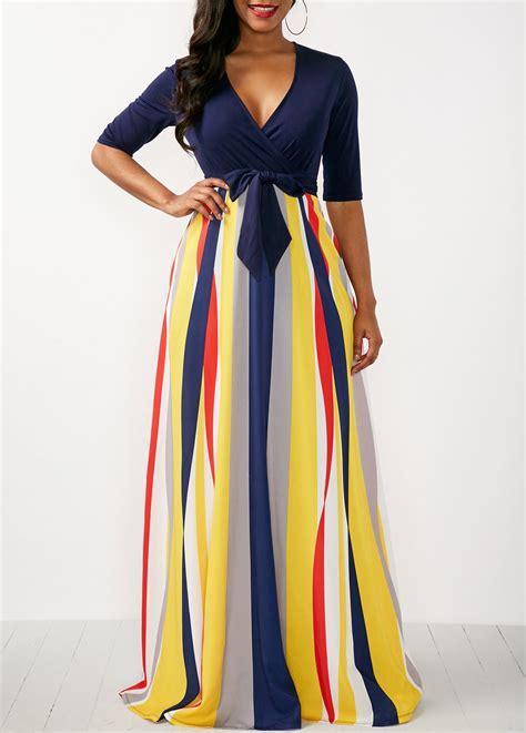 Maxy Stripe striped v neck half sleeve maxi dress rosewe usd