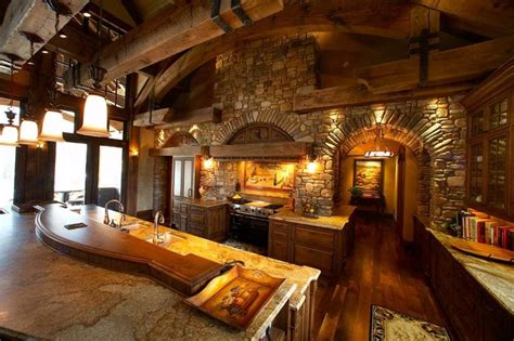 Beautiful log home kitchen.   Houses   Pinterest