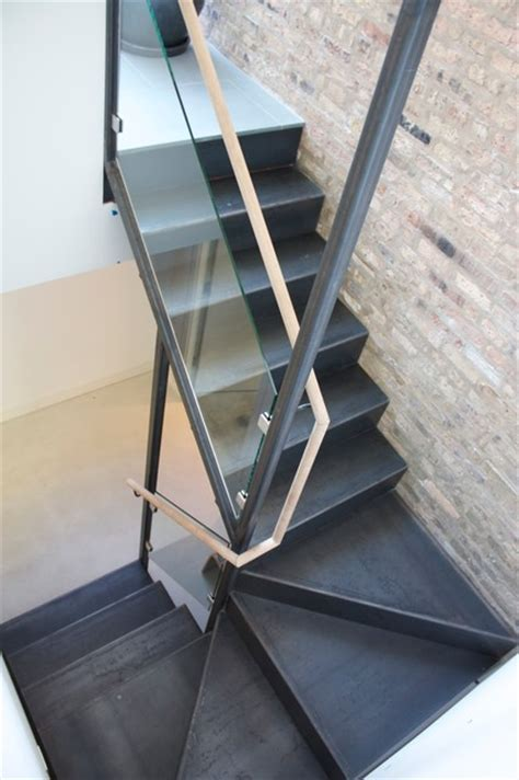 Metal Landing Banister And Railing Folded Steel Stair Modern Staircase Chicago By