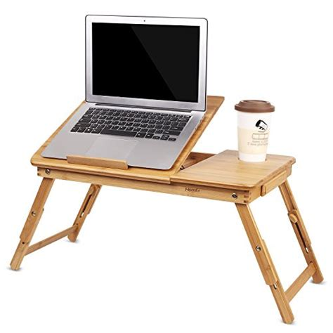 bamboo laptop desk homfa bamboo laptop desk adjustable portable breakfast serving bed tray with tilting top drawer