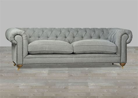 gray leather tufted sofa upholstered sofa grey chesterfield style button tufted