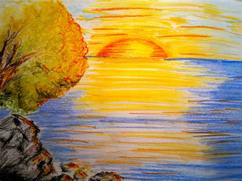pastel colored pencils sunset drawing in colored pencil how to draw a sunset with