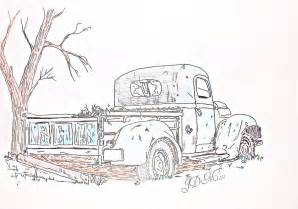 rusty old truck drawing by janet moss