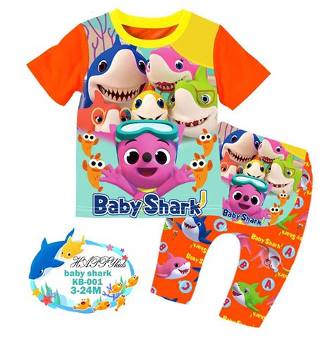 Ailubee Set Be 001 ready stock baby shark happykids pyjamas kb001 3m 24m