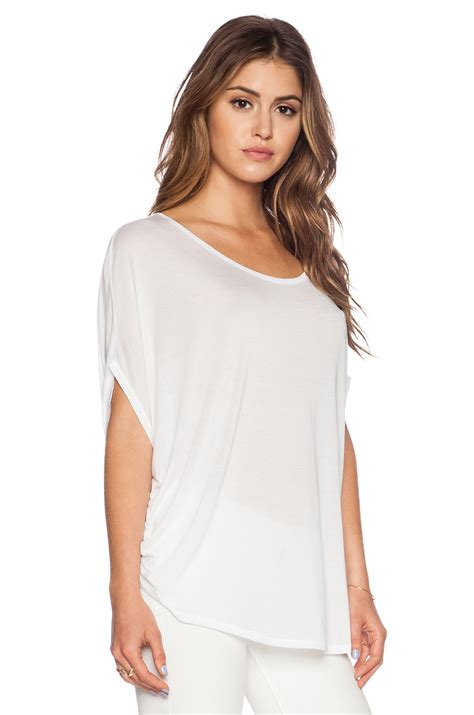 white drape top bella luxx circle drape top in white lyst