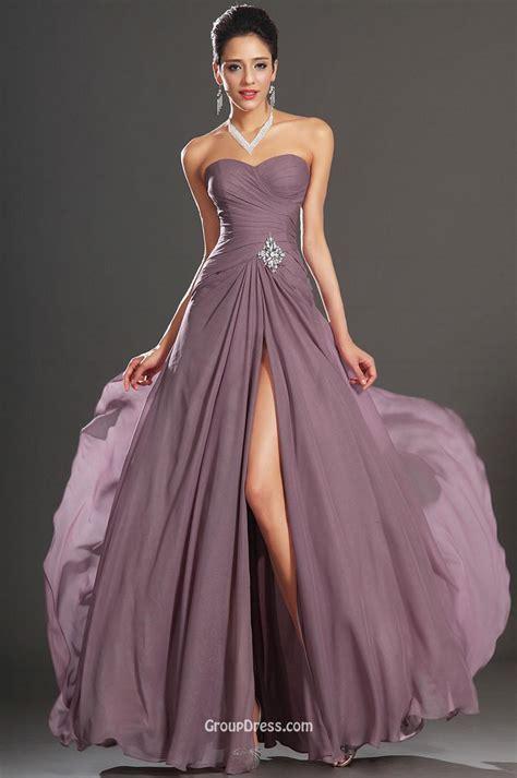 Purple Flower Split Dress 9144 feminine purple chiffon strapless spit prom dress