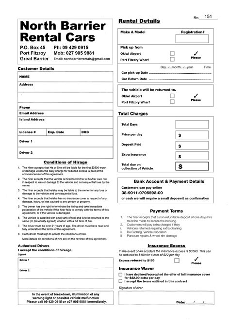 printable car rental agreements template word financial planning software