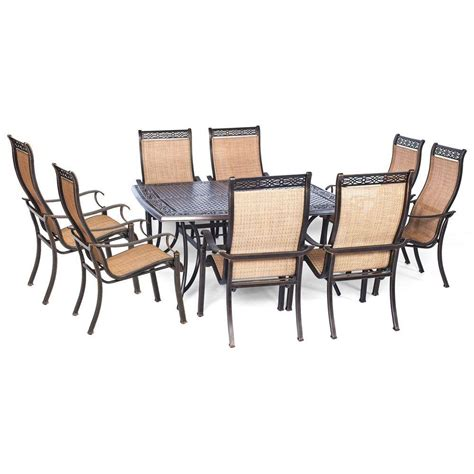 9 Pc Patio Dining Set Hanover Manor 9 Square Patio Dining Set Mandn9pcsq The Home Depot