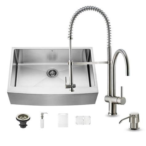 Single Basin Kitchen Sink 33 X 22 Shop Vigo 33 0 In X 22 25 In Single Basin Stainless Steel Apron Front Farmhouse Commercial