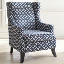 White Wingback Chair Alec Navy Blue Trellis Wing Chair Pier 1 Imports