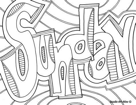 download days of the week coloring pages