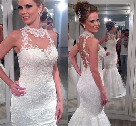 45189 Pink Halter Lace Blouse Blouse Pink Renda Hitam vestido de noiva sereia 2015 dresses high neck back lace mermaid wedding dresses