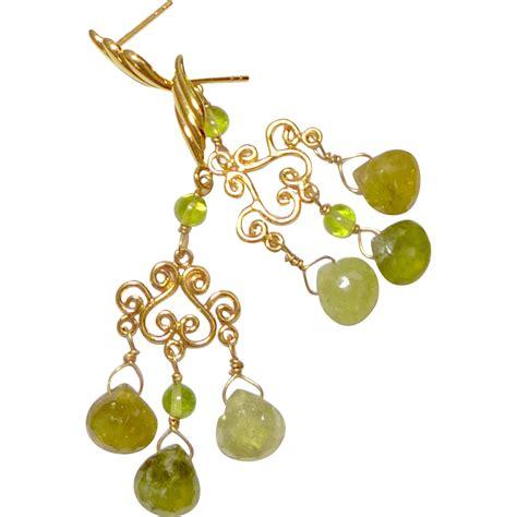 Perakclean Green Peridot Peridote Pridot faceted green garnet peridot chandelier drop earrings