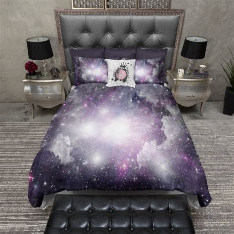 galaxy bedding purple and grey nebula galaxy bedding ink and rags