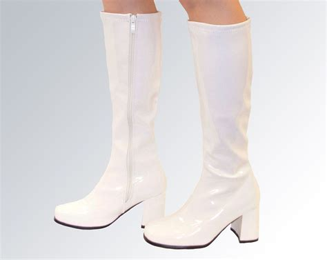 white knee high boots knee high boots white gogo fashion boots size 7 uk