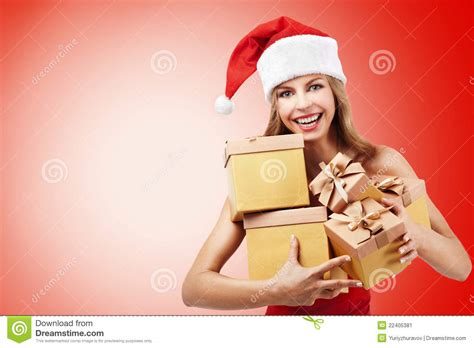 happy christmas woman holding gifts stock image image