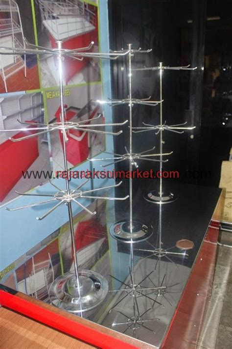 Rak Display Putar jual rak putar matahari warna chrome