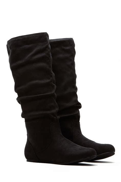black faux suede go to slouch boot cicihot boots catalog