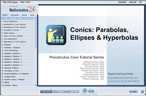 conic sections review pre calculus conics parabolas ellipses and parabolas