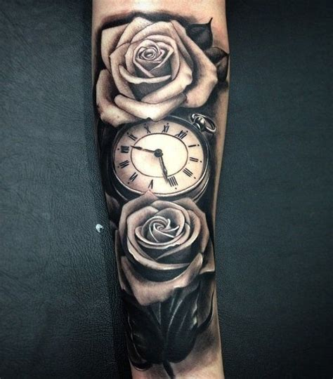 clock and rose tattoo designs 100 awesome designs часы