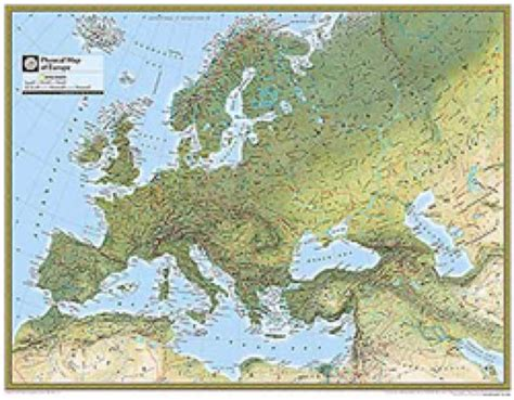 geographical map europe europe physical atlas wall map maps