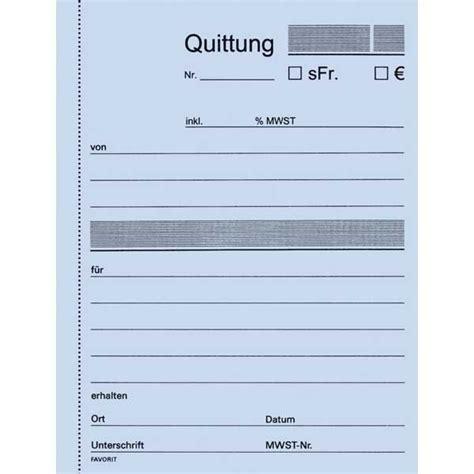 Muster Quittung Schweiz Durchschreibebuch Favorit 9098 A6 Quittung 50x3 Blatt