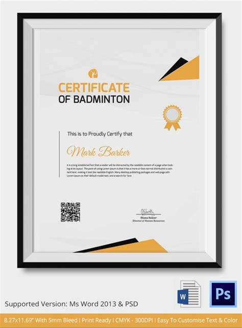 simple certificate template 5 badminton certificates psd word designs design