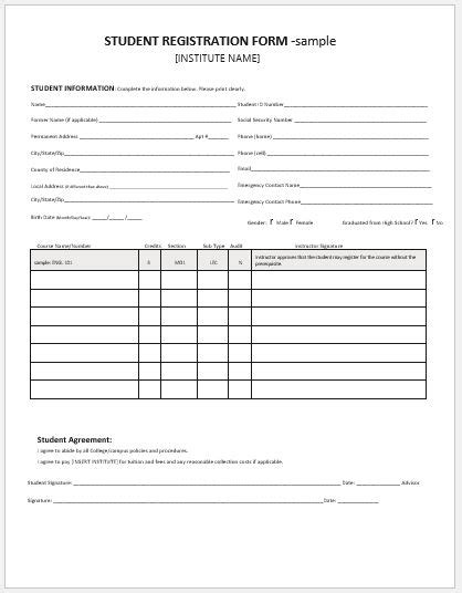 student registration forms for ms word word amp excel