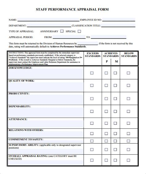 employee review form template free employee evaluation form sle 10 free exles format