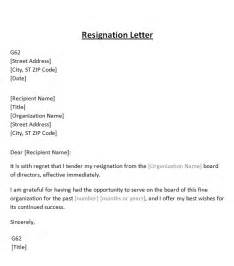 Sle Letter Of Resignation From Board Of Directors by Resignation Letter From Board Template Sle