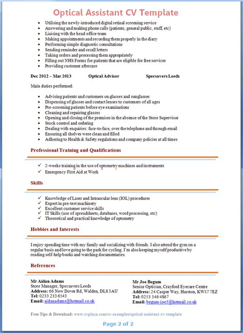 exceptional format of a cv resume optician assistant cover letter sarahepps