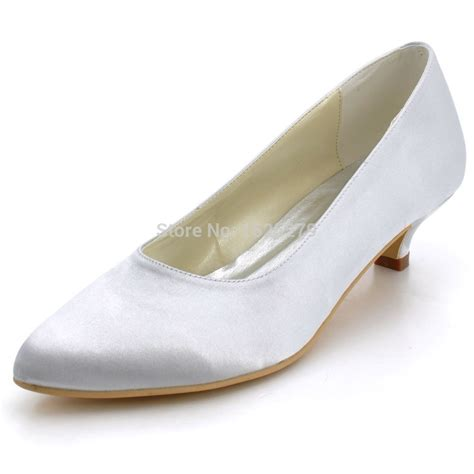 comfortable low heels ep2089 women bride silver ivory white closed toe prom