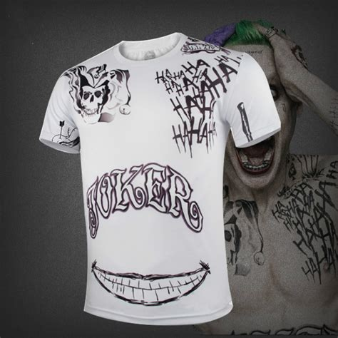 joker tattoo discount coupon short sleeve suicide squad the joker tattoo cosplay