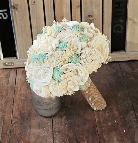 Handmade Bouquet - handmade wedding bouquet large ivory mint bridal