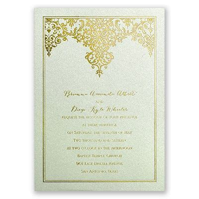 Demure Damask   Foil Invitation   Weddings, Wedding and