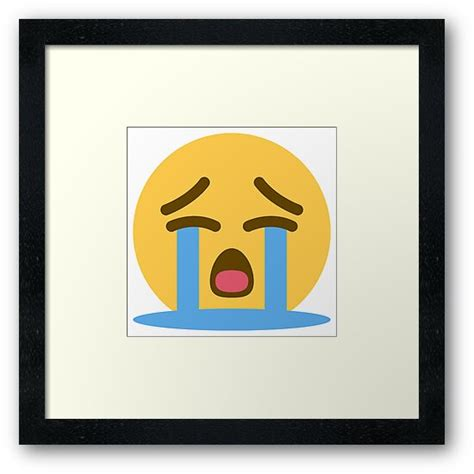 loudly crying face emoji framed art print  winkham