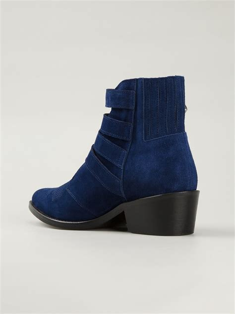 toga suede buckle boots in blue navy lyst